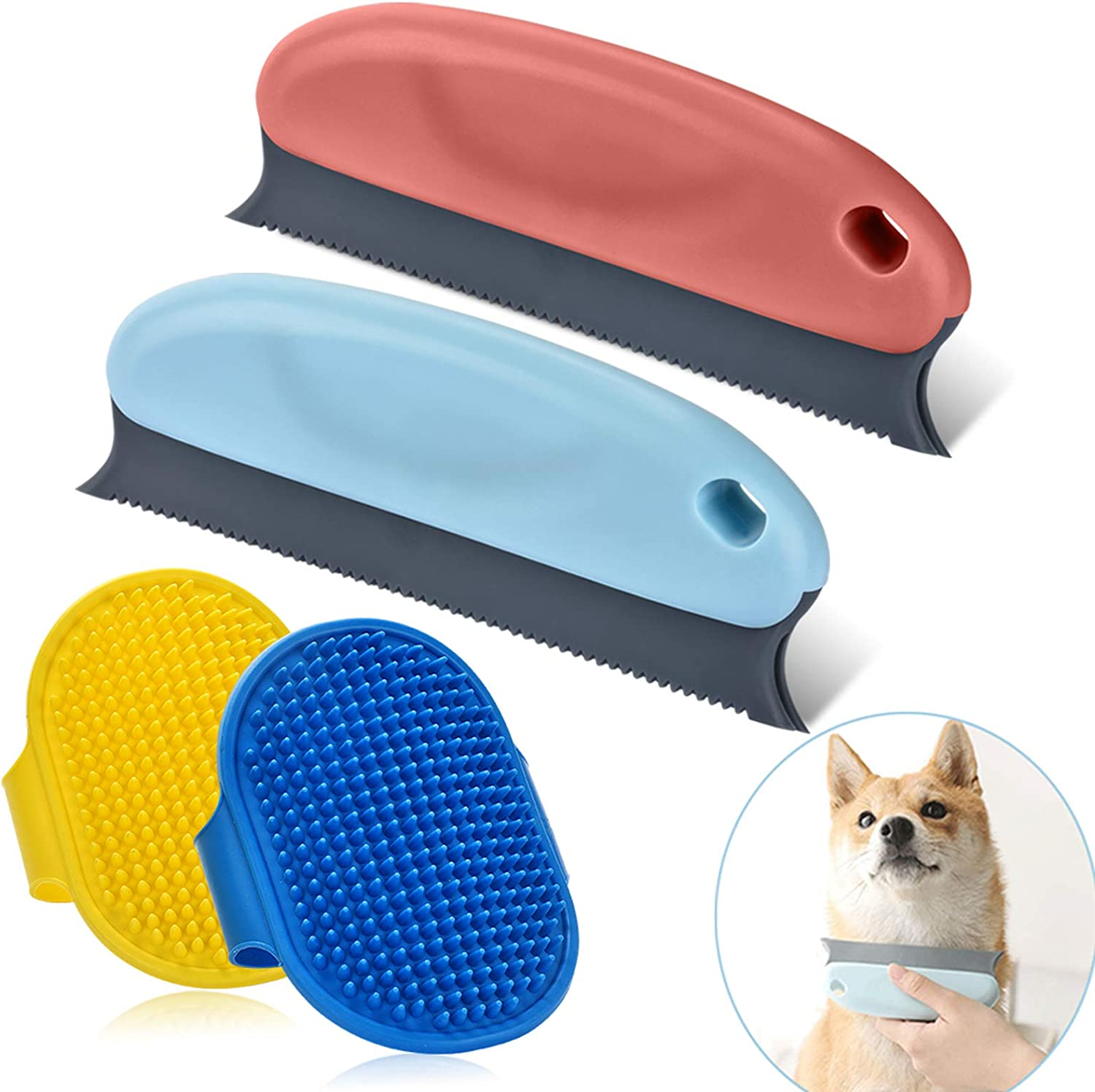 4PCS Premium Pet Hair Remover for Couch, Cat & Dog Hair Remover Set, Professional Pet Hair Remover Brush Comb for Cleaning Carpets, Sofa, Furniture and Car Interiors + 2 Dog Grooming Brushes