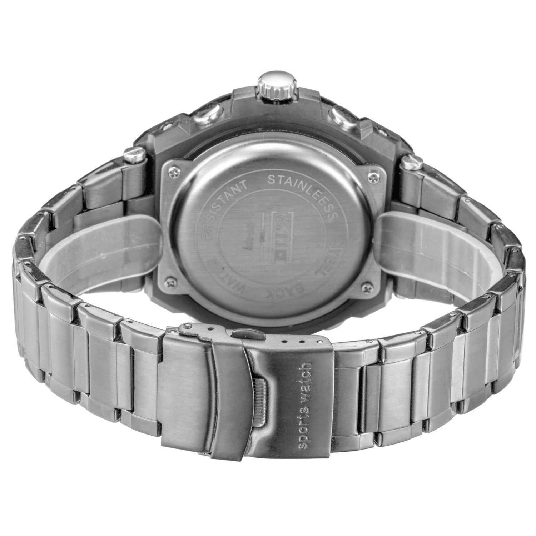 Sailine multifunzione uomo Soprt orologio doppio movimento 2 fuso orario con cinturino in acciaio INOX marca 30 m impermeabile (silver-black)