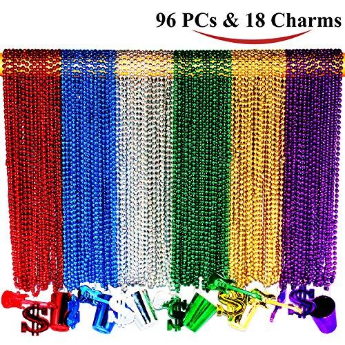 Joyin Toy 96 Pieces 33 inch 07mm Metallic Mardi Gras Beads Beaded Necklace with 18 Charms - Metallic Mardi Gras Beads Necklace