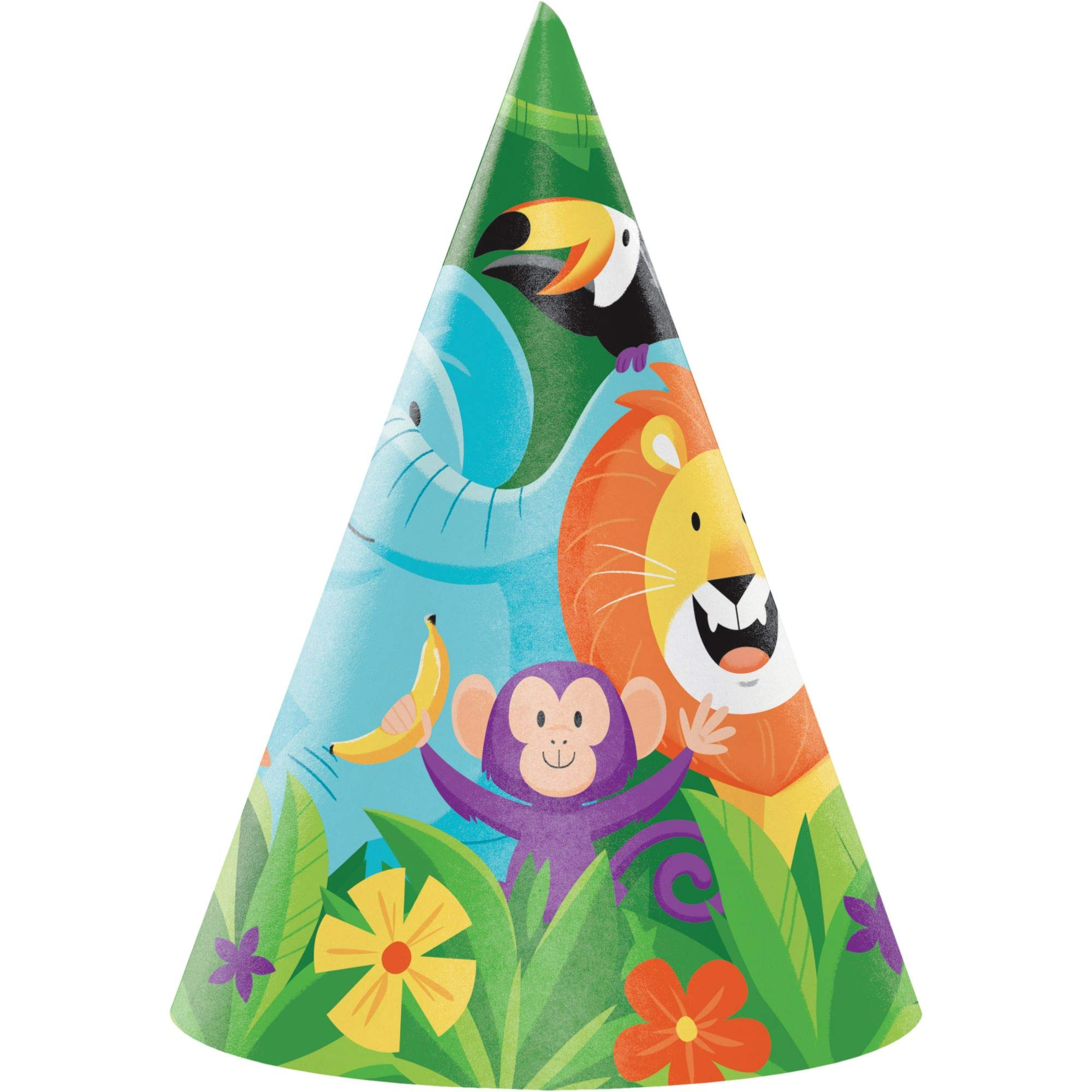 Club Pack of 48 Orange and Green Jungle Safari Party Hats 6.25''