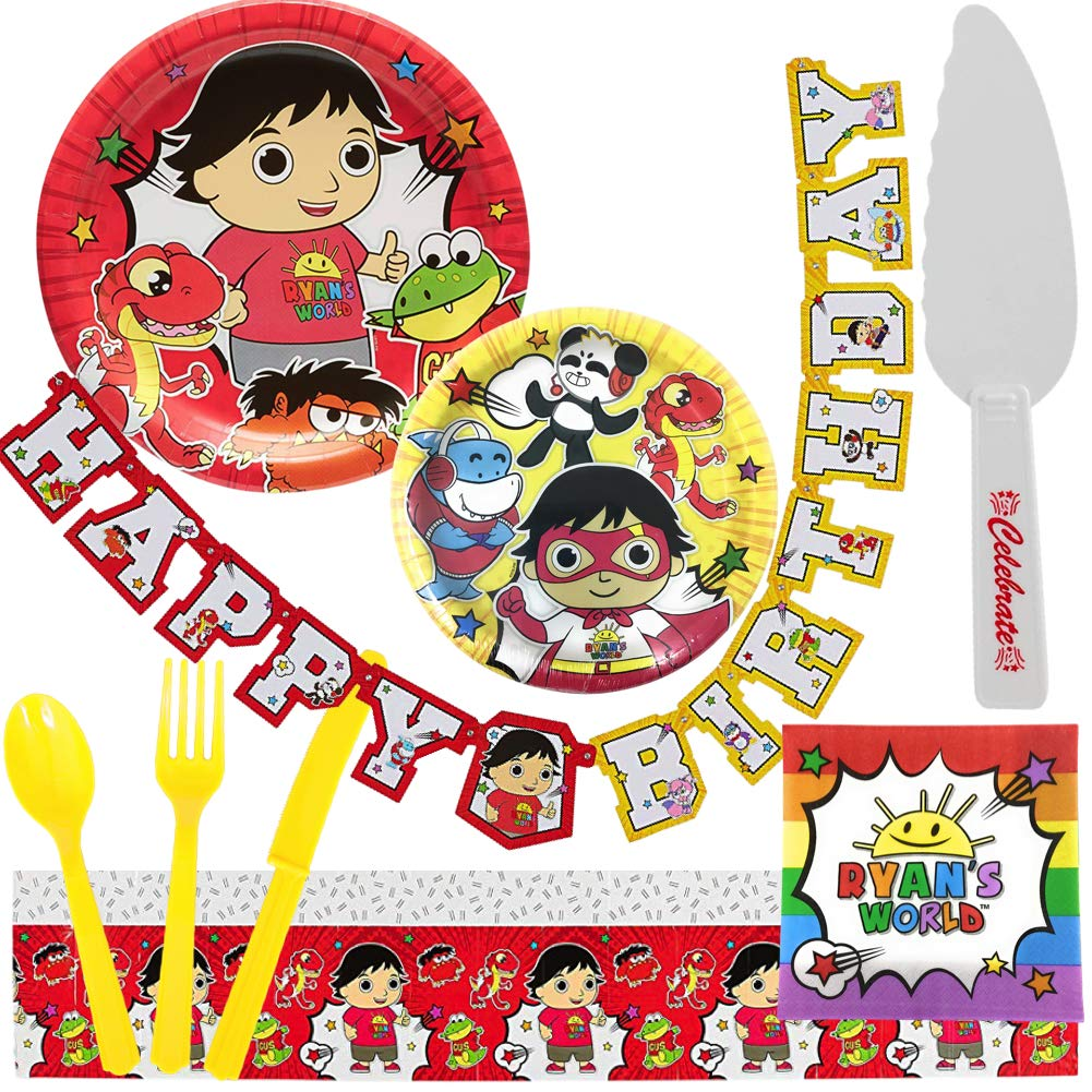 Ryan's World Birthday Party Supplies for 16 Guests - Plates, Tablecover, Banner, Cutlery, Napkins Plus Cake Cutter