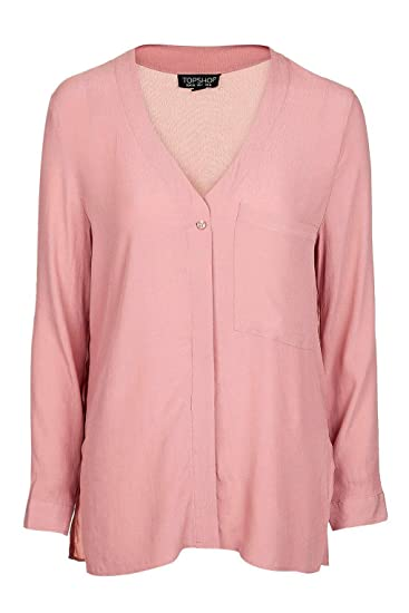 3cacd95de3 Topshop Pink Blush Long Sleeve Slouchy Pocket Shirt Blouse Top UK 14 / EURO  42 / US 10 - Brand New With Tags: Amazon.co.uk: Clothing