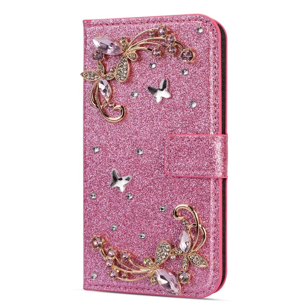 Amocase Glitter Case with 2 in 1 Stylus for Huawei P30 Pro,Luxury Diamond 3D Crystal Butterfly Flower Magnetic Wallet Soft PU Leather Stand Shockproof Case for Huawei P30 Pro - Pink by Amocase