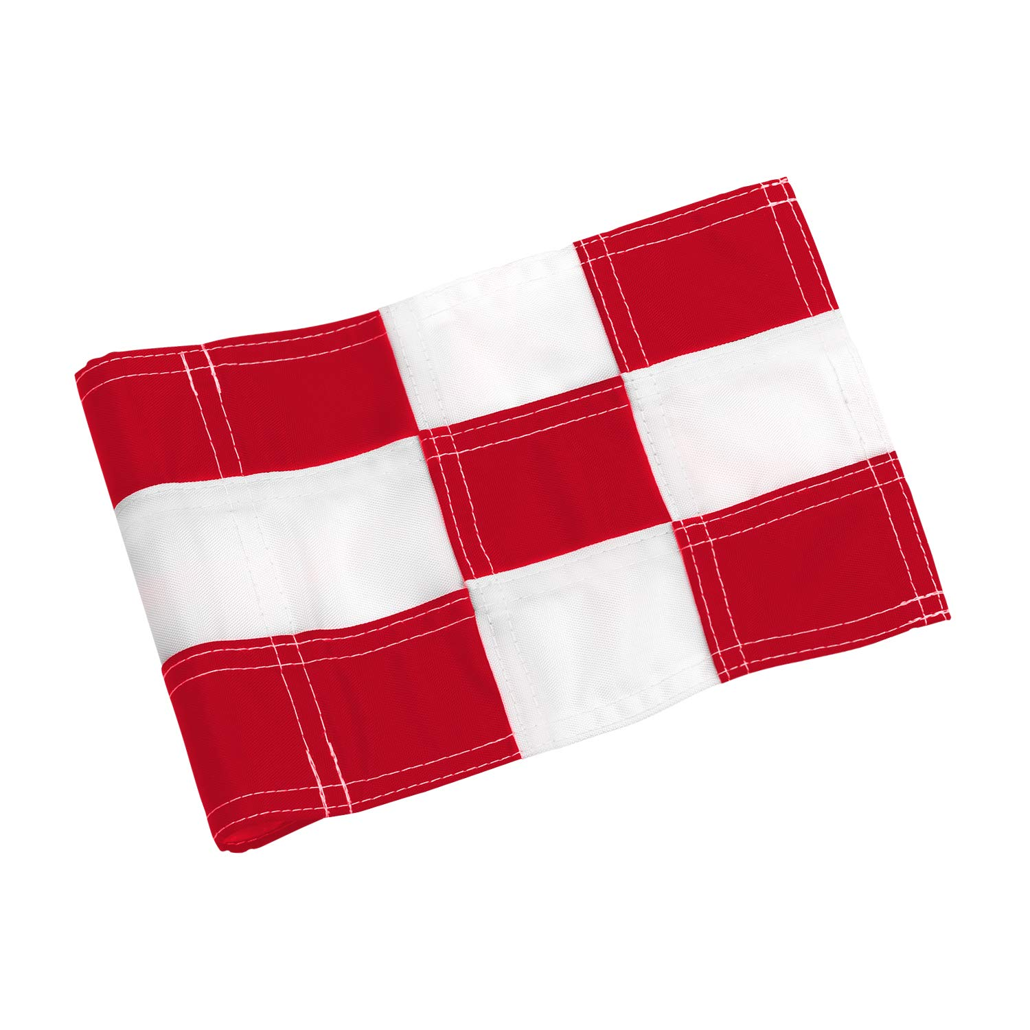 KINGTOP Checkered Golf Flag with Plastic Insert, Putting Green Flags for Yard, Indoor/Outdoor, Garden Pin Flags, 420D Premium Nylon Flag, 8'' L x 6'' H, White&Red by KINGTOP