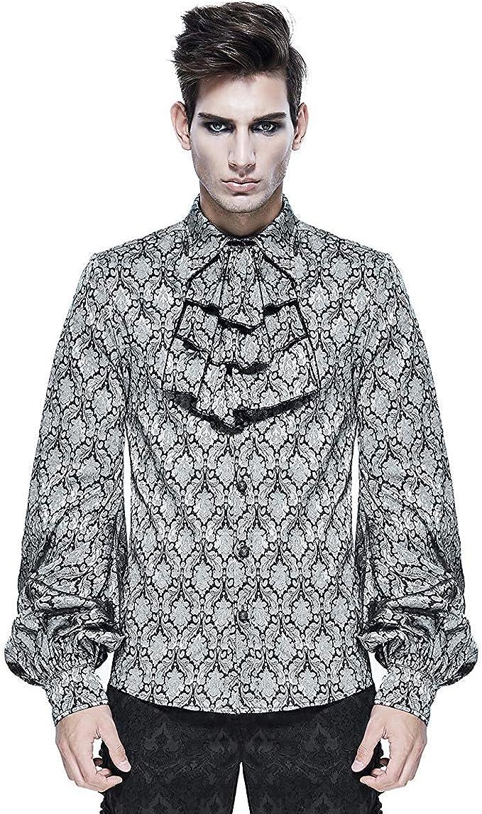Devil Fashion Gótico para Hombre Camisa Blanco y Negro Damasco ...