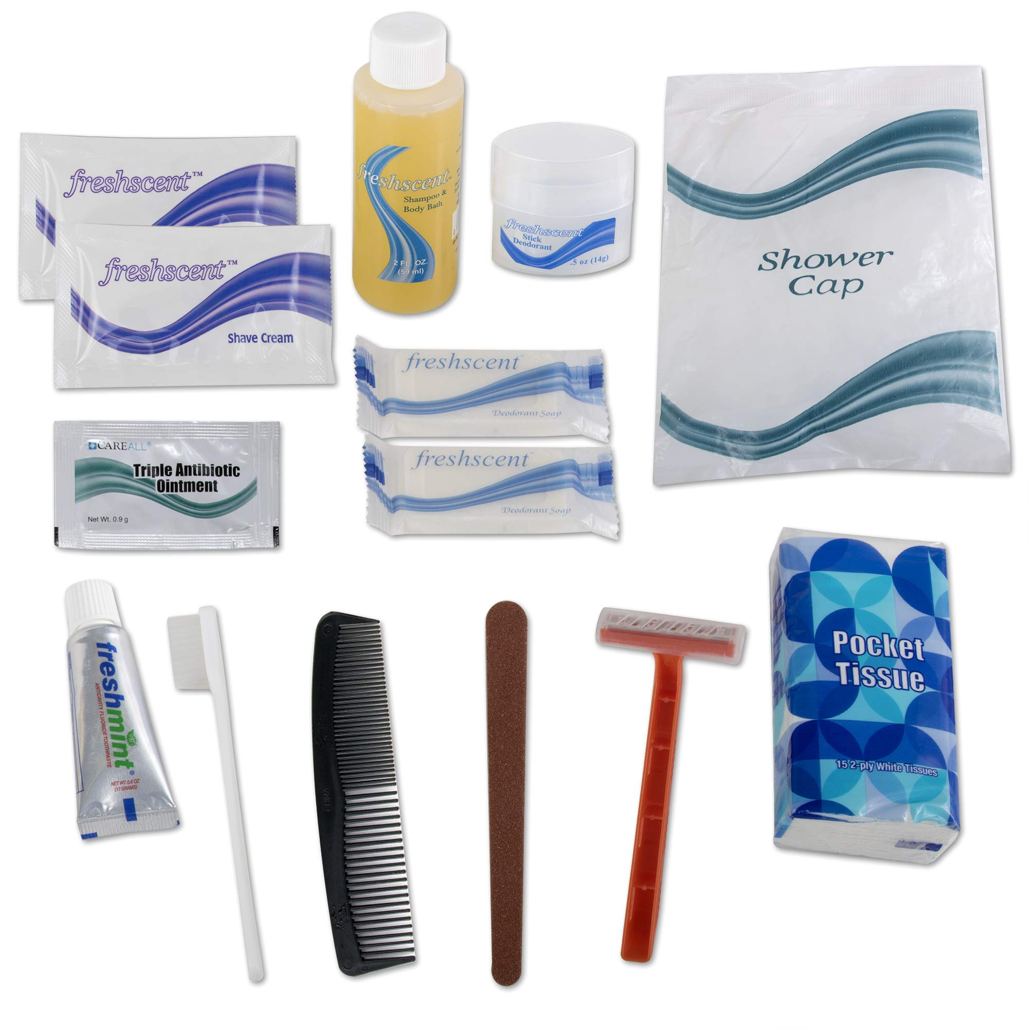 Wholesale Basic 15 Piece Hygiene Kit in Bulk, 48 Sets Per Case