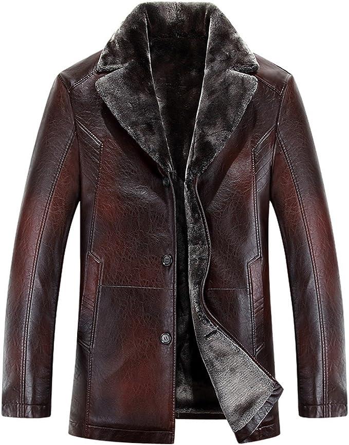 moxishop Hommes Hiver Mode Vestes en Cuir épais épais en