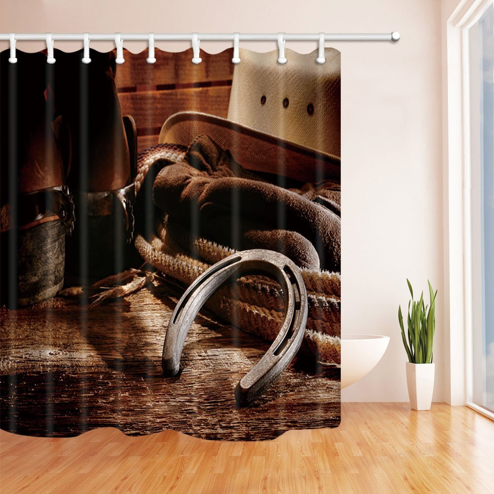 Cowboy Hat with Leather Boots on Wood Fabric Shower Curtain Set Bathroom 71Inch