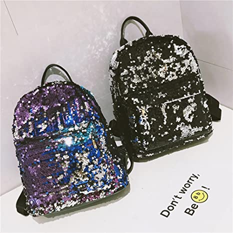 Sequin Backpack with Handle for Girls Flip Glitter Mermaid School Bag with Front Pocket Reversible Sequin Rucksack School Backpack Lightweight Travel ...