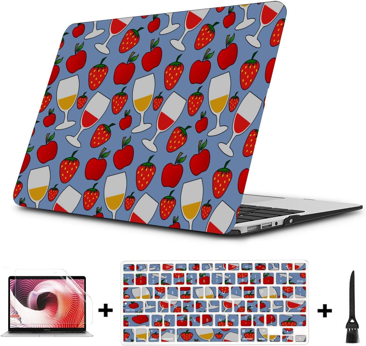 Laptop Case Mac Summer Sour Sweet Strawberry Juice Plastic Hard Shell Compatible Mac Air 11 Pro 13 15 MacBook Air Protective Case Protection for MacBook 2016-2019 Version