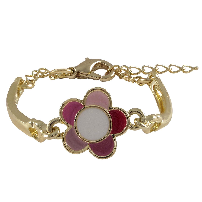 Ivy and Max Gold Finish Pink Enamel Flower Bangle Bracelet 4.5+1 Extender