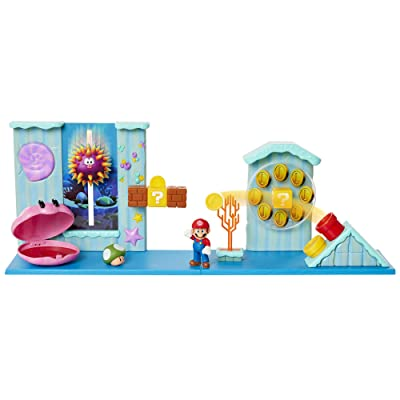 "Nintendo Super Mario Deluxe Underwater Playset with 5 Interactive Environmentpiece – Includes 2.5"" Mario Figure, 1-Up Mushroom Accessory & Warp Pipe Coin Launcher: Toys & Games"