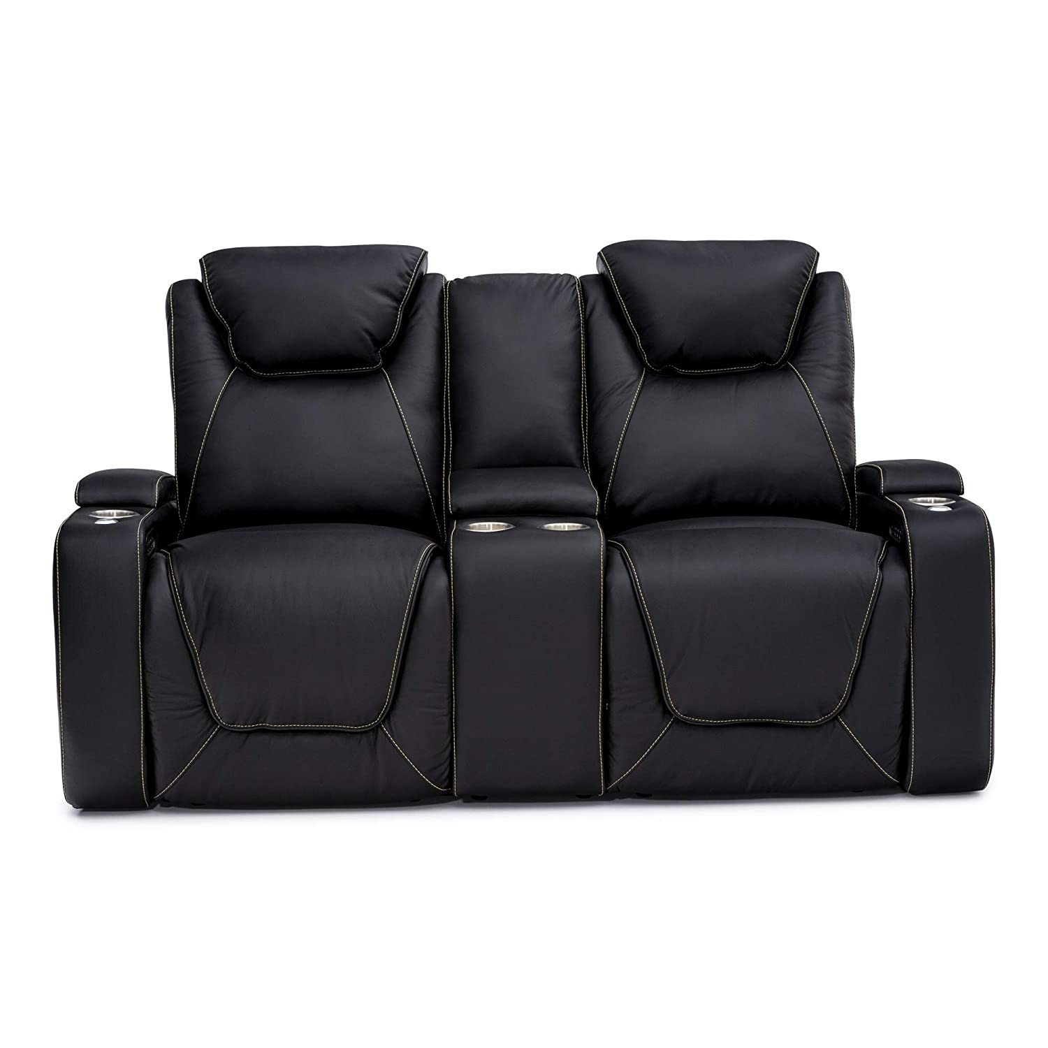 Seatcraft Vienna Home Theater Seating Leather Sofa Loveseat Recline, Adjustable Headrest, Powered Lumbar Support, Center Storage Console, and Cup Holders, Black