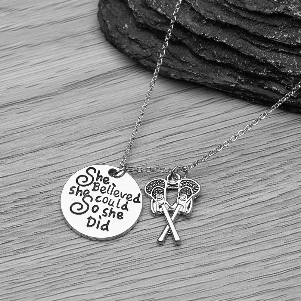 Lacrosse She Believed She Could So She Did Jewelry for Lacrosse Players Sportybella Lacrosse Necklace