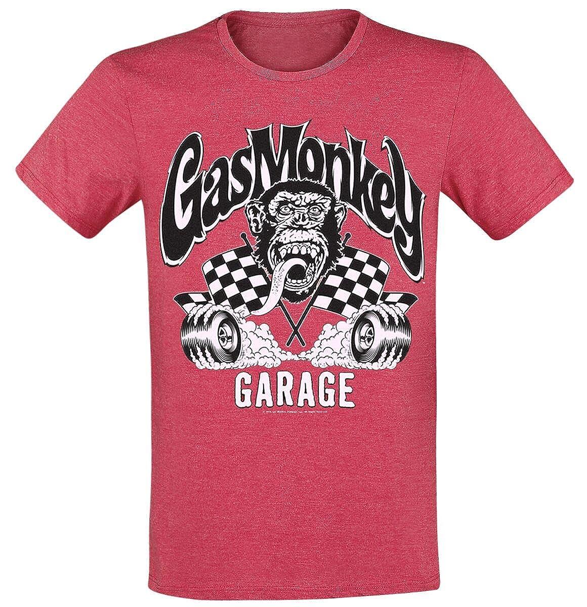 Gas Monkey Garage Burning Wheels Camiseta Rojo Jaspeado XXL ...