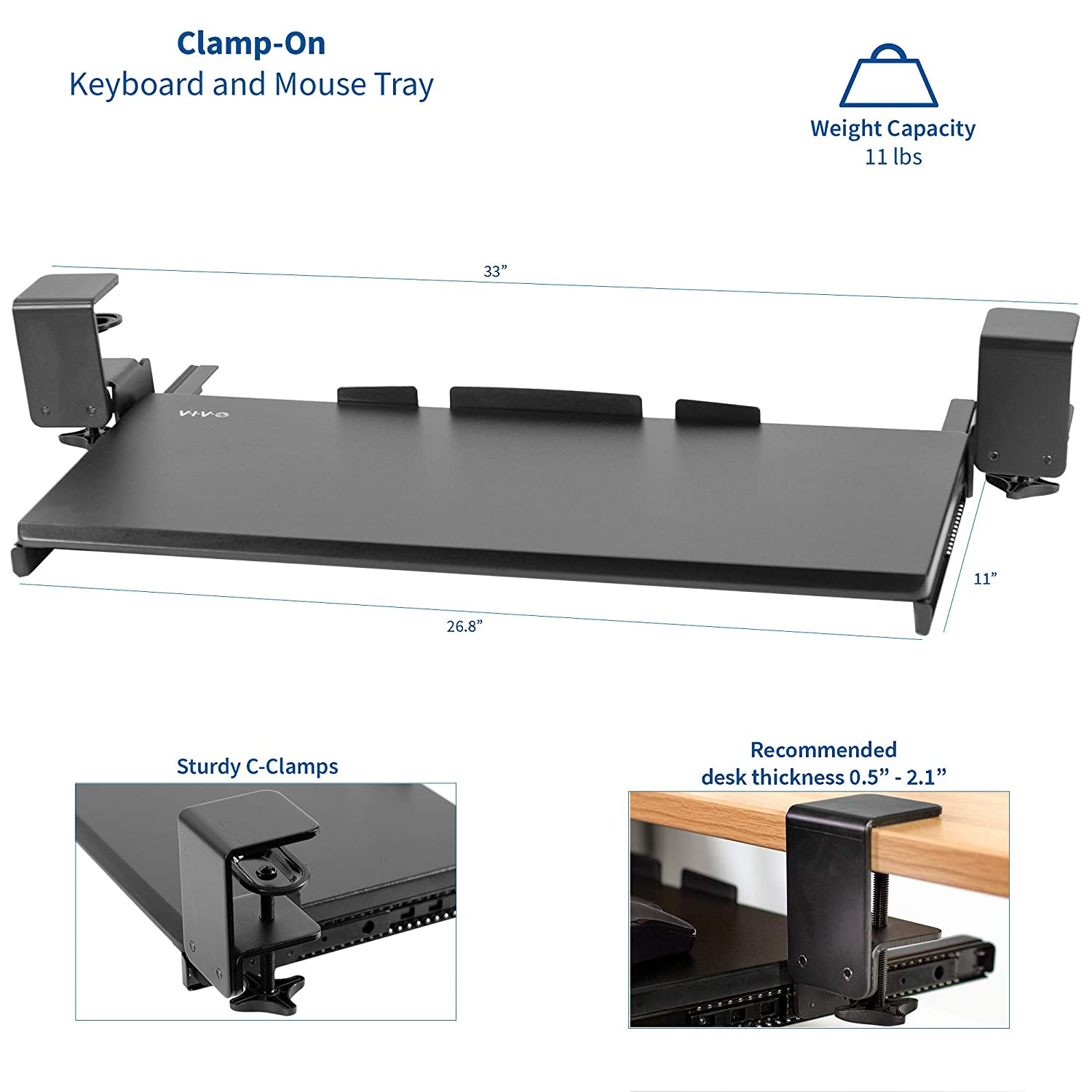 """27/"""" x 11/"""" Pull Out Platform Drawer VIVO Black Extra Sturdy Clamp-on Computer Keyboard and Mouse Under Desk Mount Slider Tray MOUNT-KB05E"""