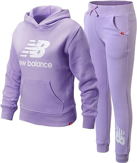 New Balance Girls' Jogger Set - Pullover Hoodie Sweatshirt and Jogger Sweatpants Kids Clothing Set (Big Girl)