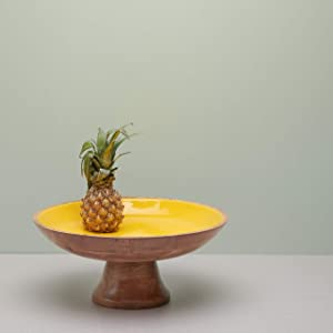 Wooden Pedestal Fruit Bowl for the Counters or Decorative Fruit Stand for Kitchen Counters or Centerpiece Table Décor, 12-inch Large Serving Bowls for Fruits, Breads, Mango Wood, Yellow