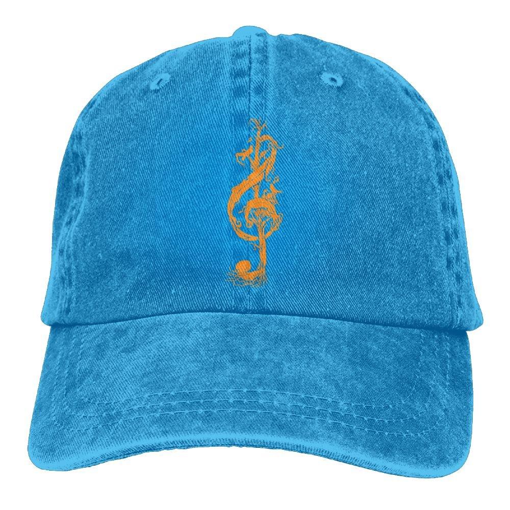 Key Note Music Tree Plain Adjustable Cowboy Cap Denim Hat for Women and Men