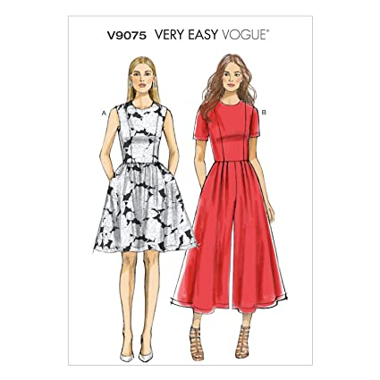 9e9f0d86cb5 Amazon.com  Vogue Patterns V9075A50 Misses  Misses  Petite Dress and Jumpsuit  Sewing Template