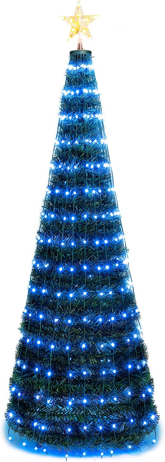 Artificial Christmas Tree | 6FT Pre-Lit Christmas Tree 18 Flash Modes with 314 Multicolored LED Lights| Quick Install Foldable Stand | Perfect for Indoor and Outdoor Holiday Decoration