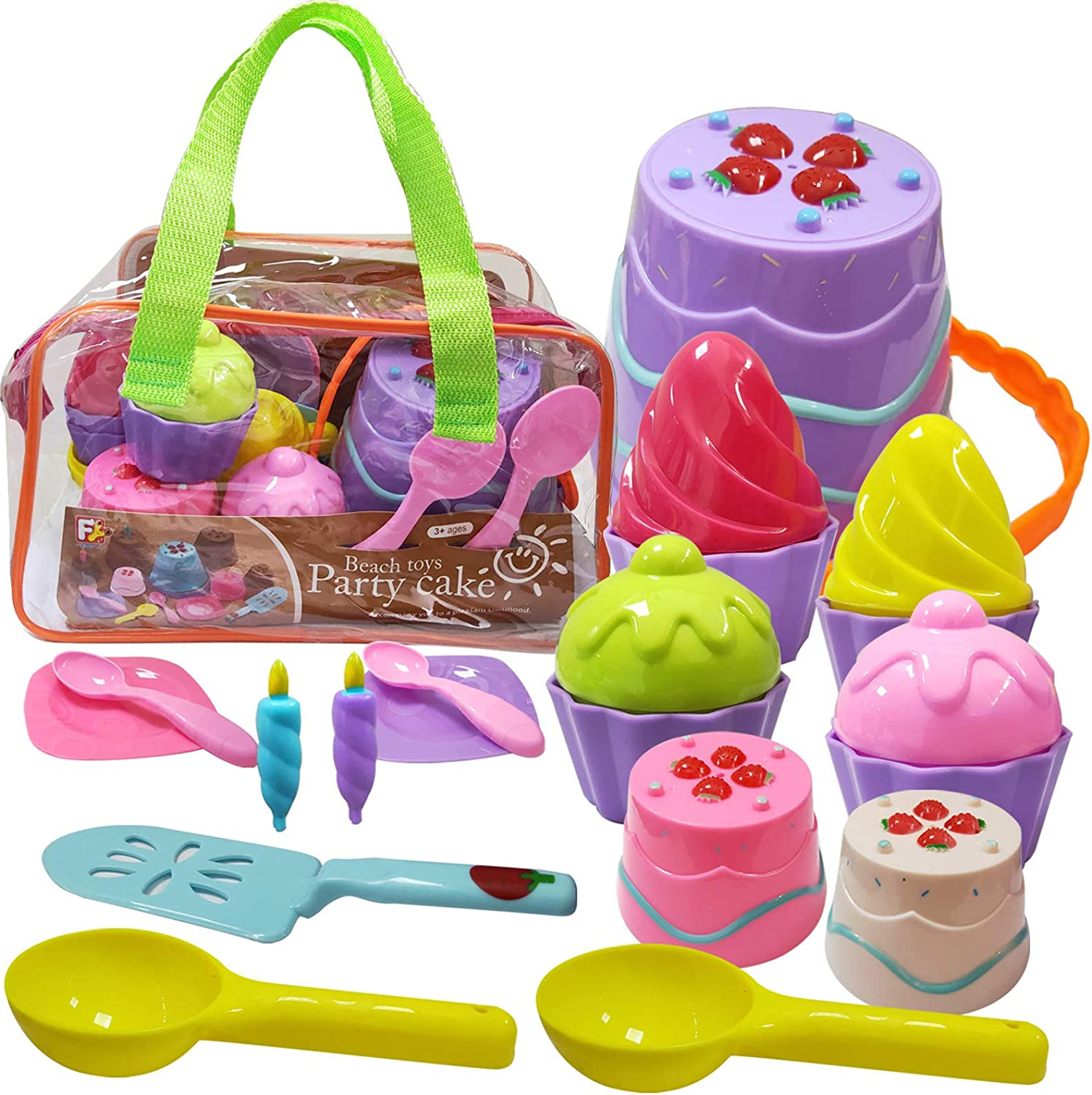 HAOMARK Beach Sand Toys Cakecup Ice Cream Sandbox Mold Set 17 Pieces for Kids Toddlers Girls Boys 3-10 Gift