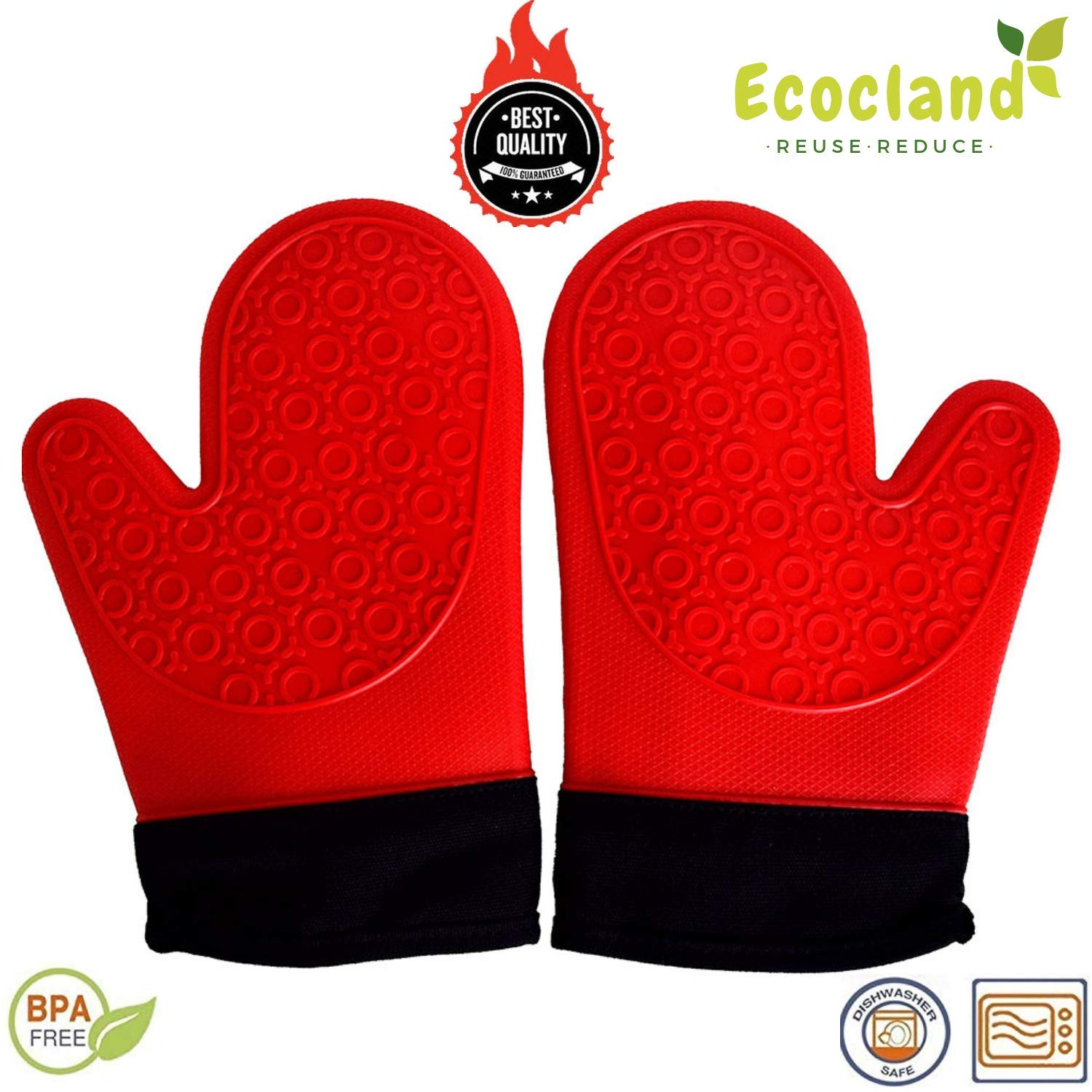 Silicone Oven Mitts, BBQ Grill Glove, 1 Pair Heat Resistant, Suitable for Pot Holder, Baking, Microwave, Grilling BBQ - with Soft Inner Lining Non Slip, Safe Use