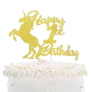 Happy Birthaday 1st Cake Topper - Unicorn Theme Gold Glitter Décor - Adorable Baby Shower Wild One - Kids First Birthday Unicorn Cake Derocation