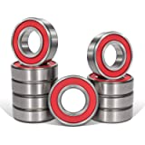 Bonbo 10 Pcs 6201-RS(2RS) Seal Bearings 12x32x10mm,Steel and Double Rubber Seal,Deep Groove Ball Bearings