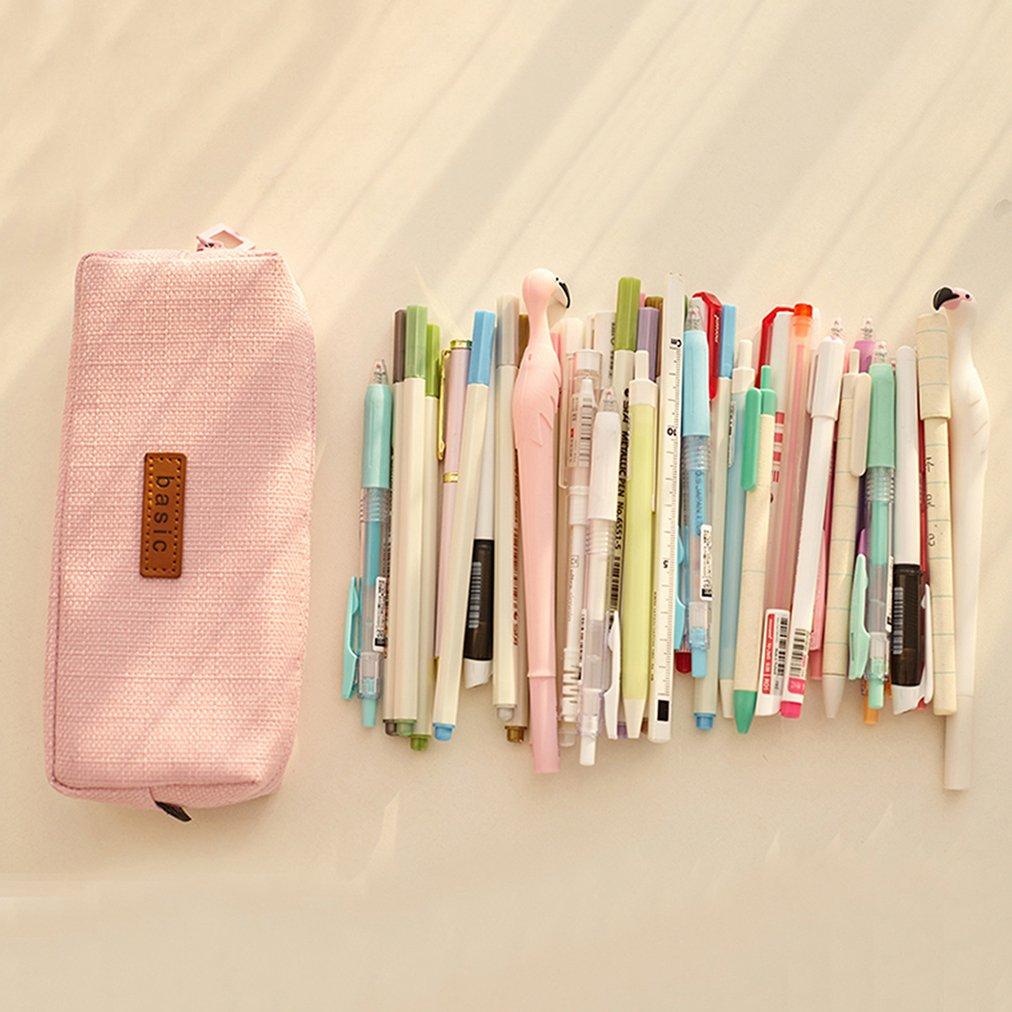 iSuperb Trousses Scolaire Petite Poche Crayon Case Couleur Unie Filles Garcon Pencil Holder beige