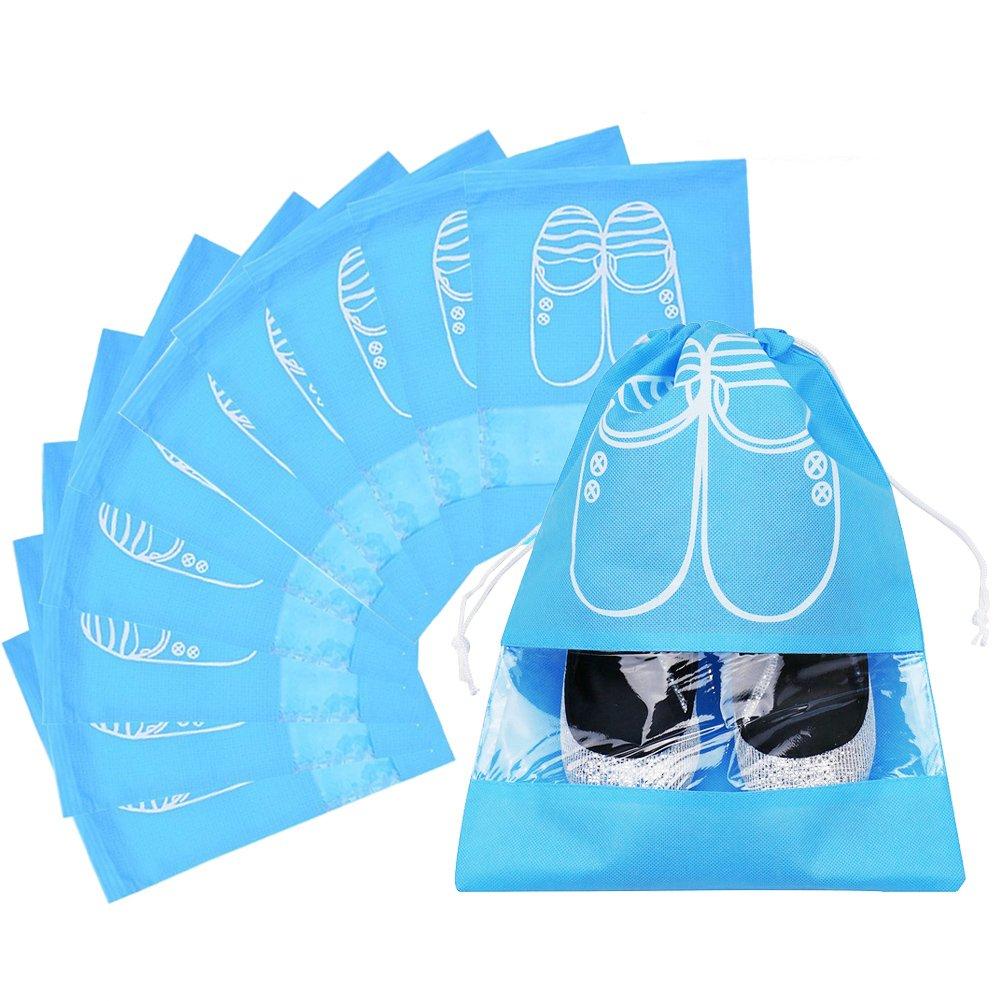 Travel Shoe Organizer Bags for Boots, High Heel, Drawstring, Transparent Window, Space Saving Storage Bags 5/10 Pack High Heel - Drawstring Large Size Sky Blue Westonetek