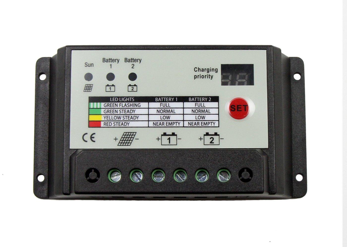 SUNDELY® Dual Battery 20A PWM 12V/24V Solar Charge Controller with System Protection Regulator Digital Led