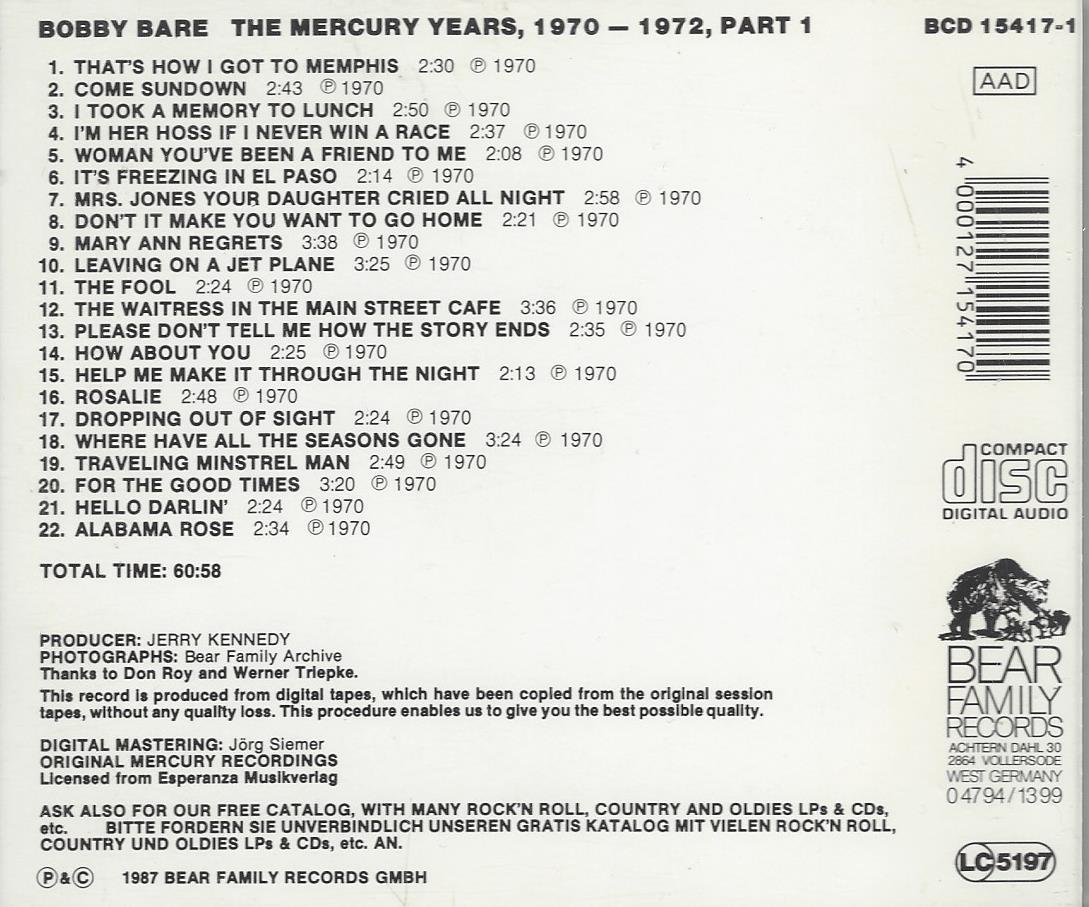 Bobby Bare - The Mercury Years, 1970-1972, Part 1... Bobby Bare ...