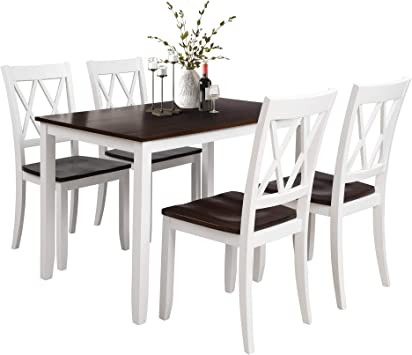Amazon.com - Knocbel Elegant Wood Dining Table Set With 4 Pcs Comfort High Backrest Chairs For Home & Kitchen (White) - Table & Chair Sets