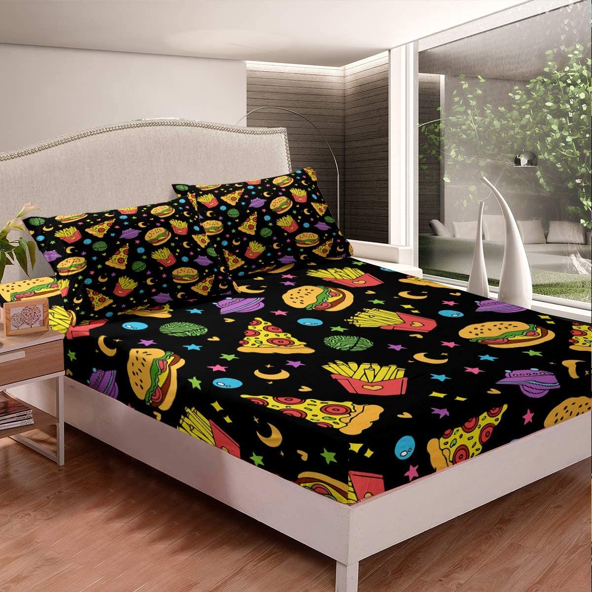 Fast Food Bedding Set for Kids Boys Girls Hamburg Pizza French Fries Bed Sheet Set Colorful Stars Fitted Sheet Delicious Food Bed Cover,Room Decor 3Pcs Sheets Full Size