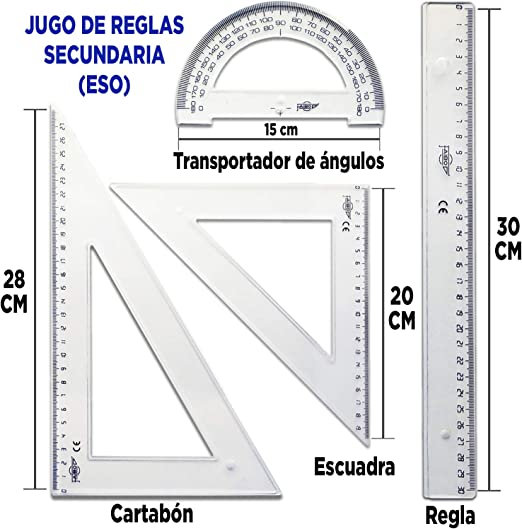 Pack Compas Escolar Secundaria Juego de Reglas Escuadra y Cartabon 28 cm Transportador de Angulos 15 cm Regla 30 cm Material Escolar Dibujo Tecnico Adaptador ...