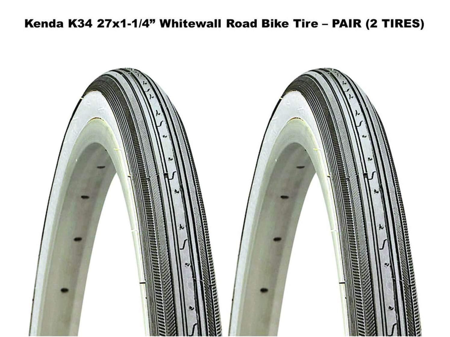 Kenda K34 27 x 1-1/4インチ ホワイト ウォール ロードバイクタイヤ ワイヤービーズ ペア (2タイヤ)   B07FH84RY8