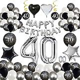 MMTX 40 Decoración Fiesta cumpleaños, Feliz cumpleaños Decoracion Globos Negro Plateado con Happy Birthday Banner…