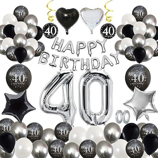 MMTX 40 Decoración fiesta cumpleaños, Feliz cumpleaños Decoracion Globos Negro plateado con Happy Birthday Banner, impresión látex Globos de papel de ...