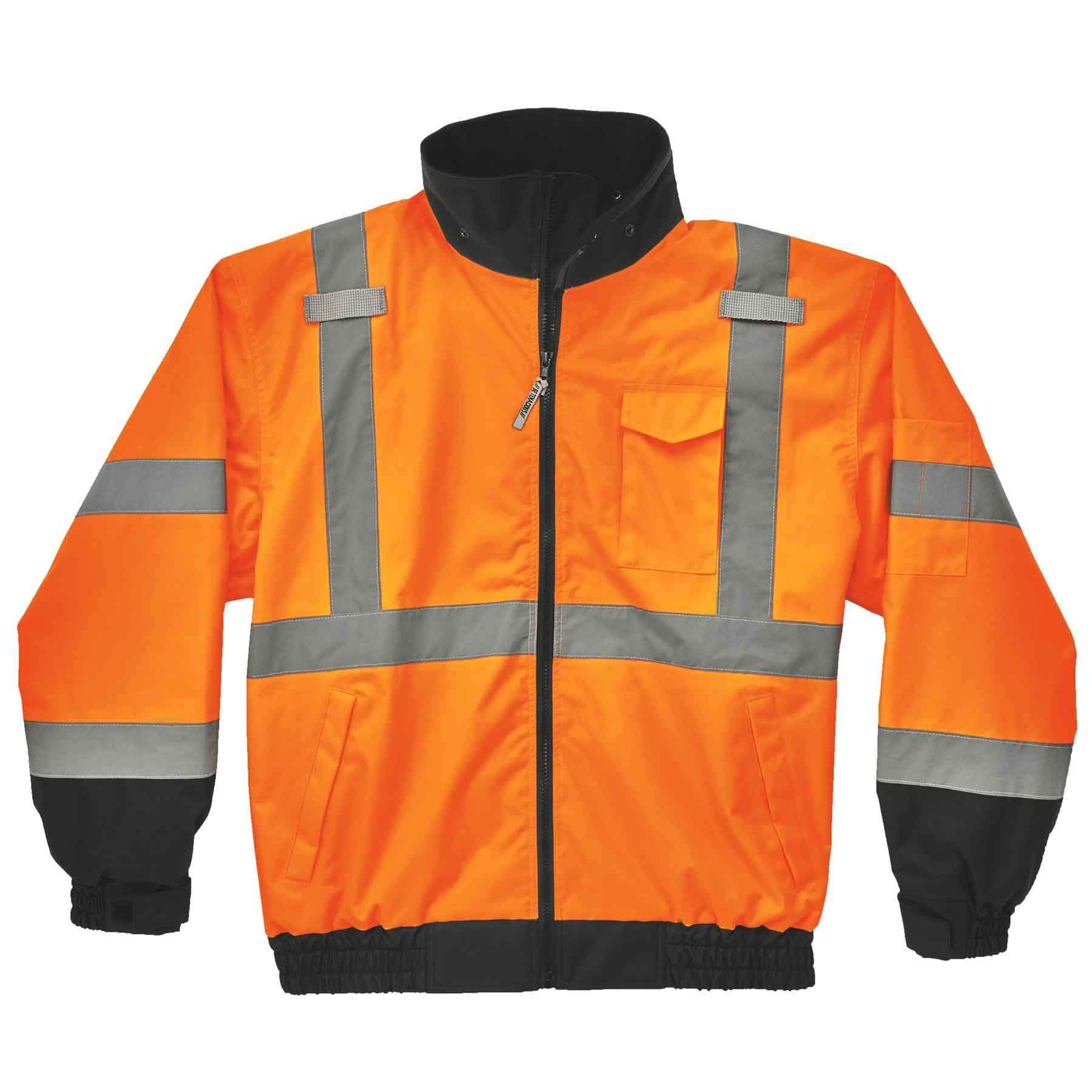Ergodyne GloWear 8379 ANSI High Visibility Orange Thermal Bomber Jacket, XL