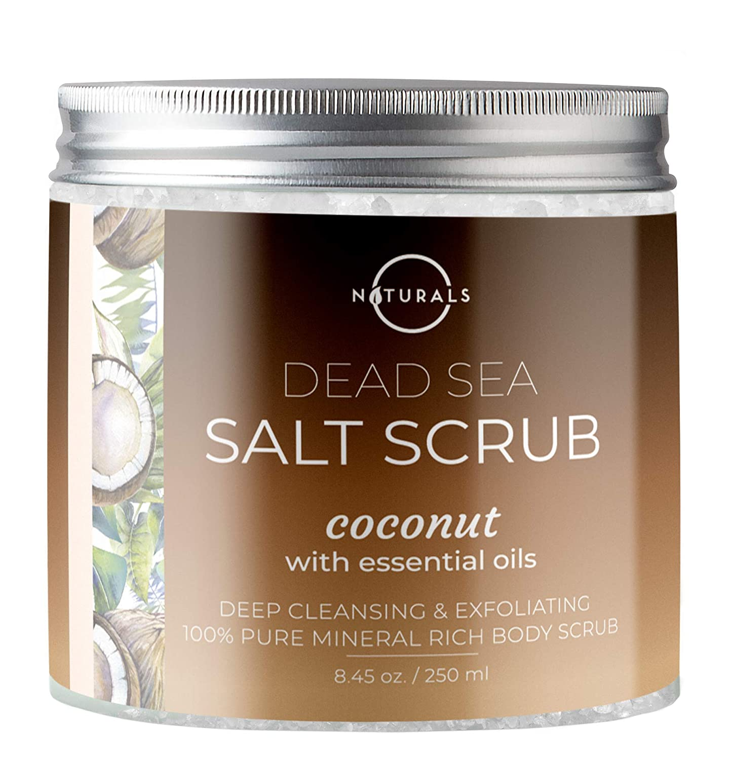 O Naturals Lemon & Mint Dead Sea Salt Scrub. Refreshing All Natural Exfoliator for Face, Hands, Body & Acne. Smooths, Renews & Revives Skin with Argan & Sweet Almond Oil. For Women & Men 8.45 Oz.