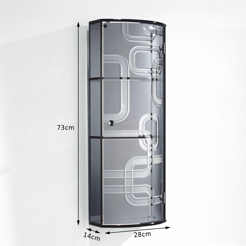 Homcom Glass Cabinet With Mirror Back, 3 Display Storage Shelves