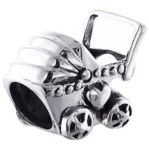 Silvadore - plateado cuentas - Con forma de carrito de bebé New Born carrito para niño de corazón con Wish suerte - 925 de ley para pulsera 3D cinta para el ...