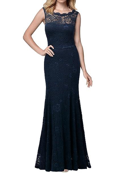 Miusol Elegante Encaje Fiesta Vestido Largos para Mujer Azul Small