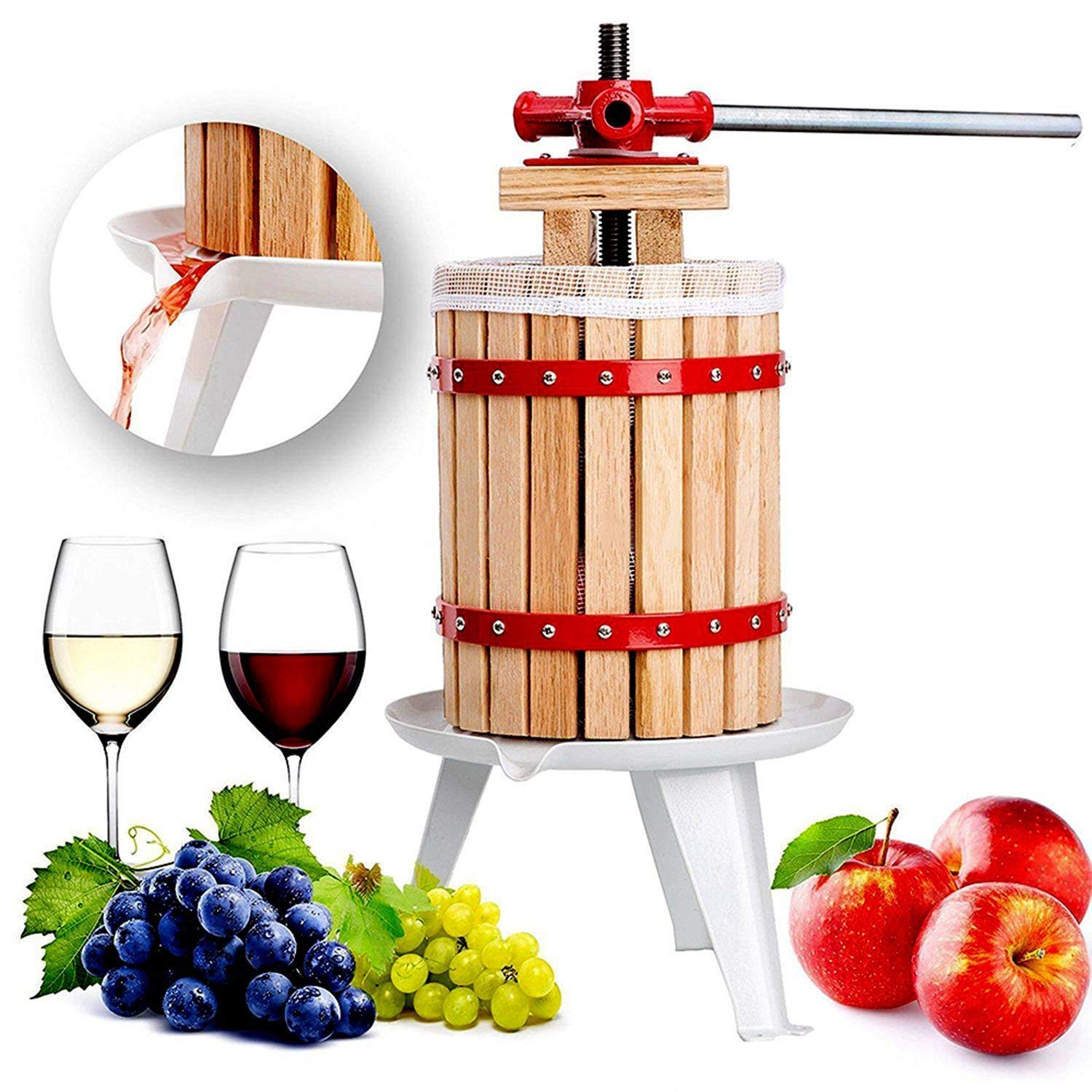 Fruit and Wine Press 1.6 Gallon Cider Apple Grape Crusher Juice Maker Tool Wood