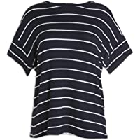 Camille Womens Ex Marks & Spencer Navy and White Striped Oversized T-Shirt