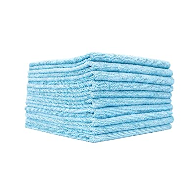 The Rag Company (10 Pack Edgeless 300 16 x 16 Microfiber Terry Towel, Light Blue: Automotive