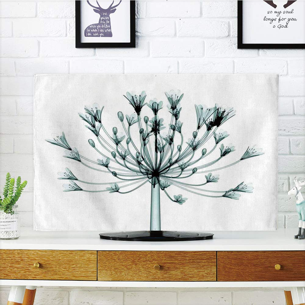 iPrint LCD TV dust Cover Customizable,Xray Flower,X ray Image of a Floral Tree an Unusual Look into The Complex Structures of Flowers,Teal White,Graph Customization Design Compatible 42'' TV