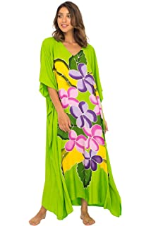 1d32813fc5 Back From Bali Womens Long Maxi Beach Cover up Caftan, Frangipani Floral  Dress, Summer