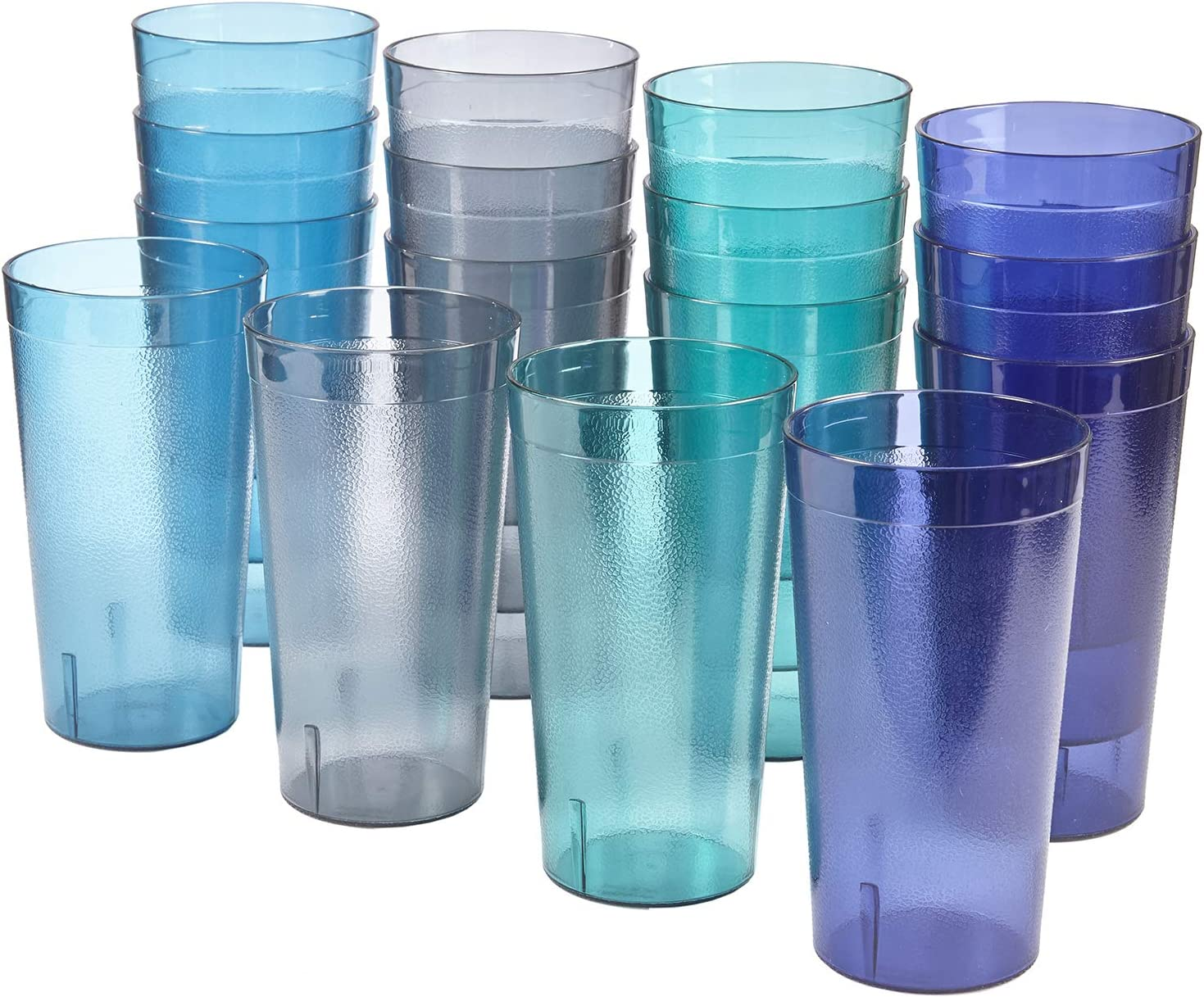 Cafe 20-ounce Break-Resistant Plastic Restaurant-Style Beverage Tumblers | Set of 16 in 4 Coastal Colors
